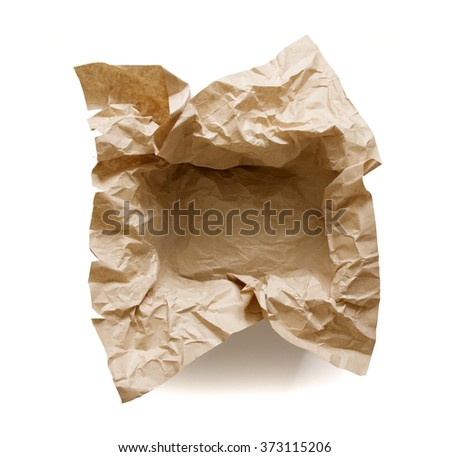 Top view of empty box with craft paper lining isolated on white background - stock photo
