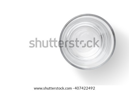 Top view of empty glass cup on white background - stock photo