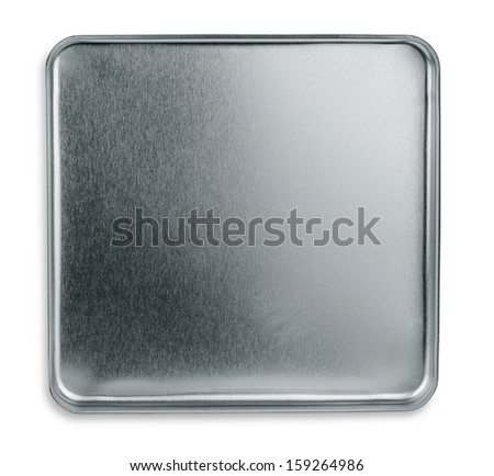 Top view of empty metal box isolated on white - stock photo