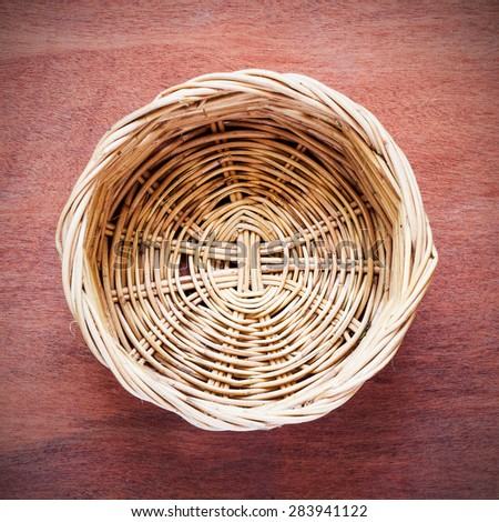 Top view of empty wooden fruit or bread basket - stock photo