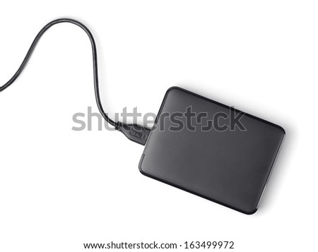 Top view of external hard disk isolated on white - stock photo