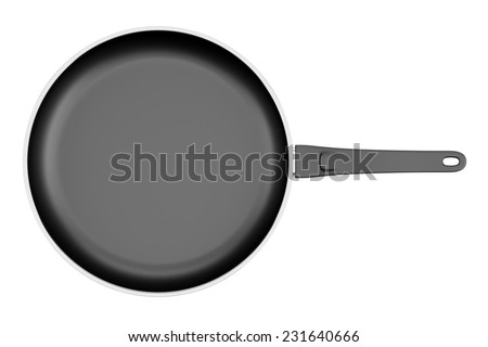 top view of fryer pan isolated on white background - stock photo