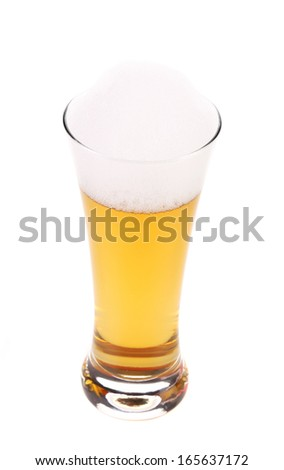Top view of full beer glass. Isolated on a white background.