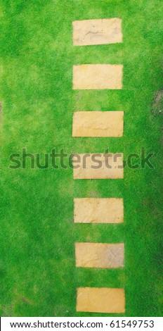 top view of garden pathway - stock photo