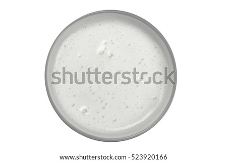top view of glass milk / Glass of Milk From Above