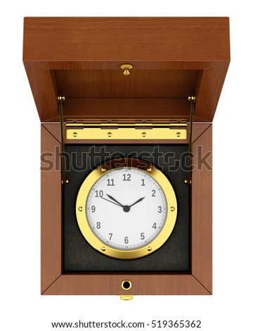 top view of golden clock in wooden box isolated on white background. 3d illustration