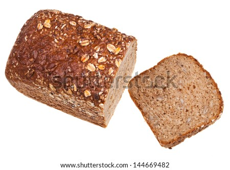 top view of grain bread loaf and sliced hunch of bread isolated on white background - stock photo