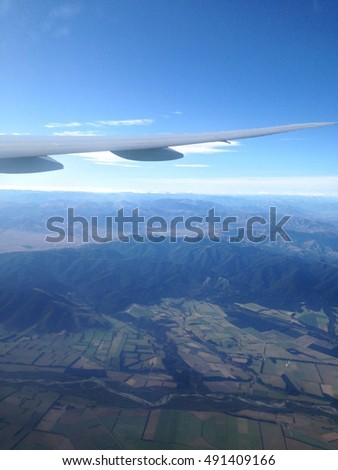 Top view of high mountains in New Zealand.