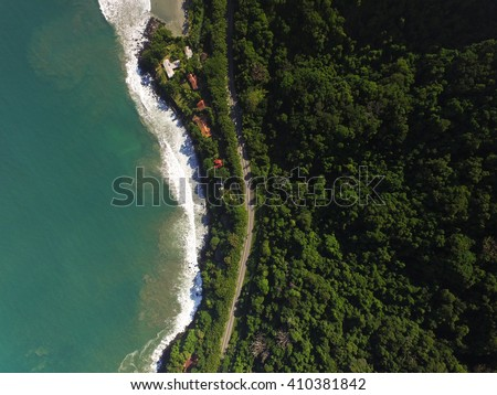 Top View of Highway in a Coastline Landscape - stock photo