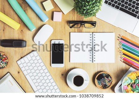 Charmant Top View Of Hipster Wooden Office Workplace With Empty Notepad, Electronic  Device, Other Supplies