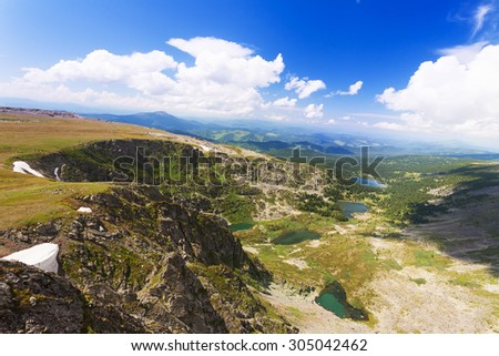 Top view of Karakol lakes in Altai mountains. Altai, Suberia - stock photo
