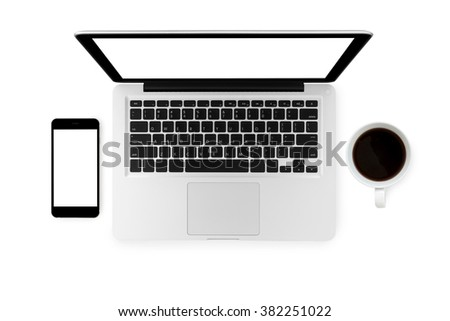 Top view of laptop, smartphone and a cup coffee on isolated white background.