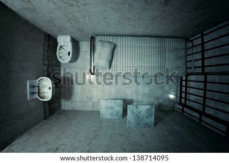 Top View Of Locked Old Prison Cell For One Person With Bed Sink Toilet