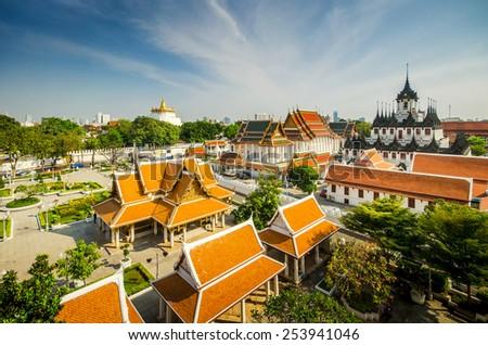 top view of loha prasat and golden mountain . 2 landmark of bangkok , Thailand - stock photo