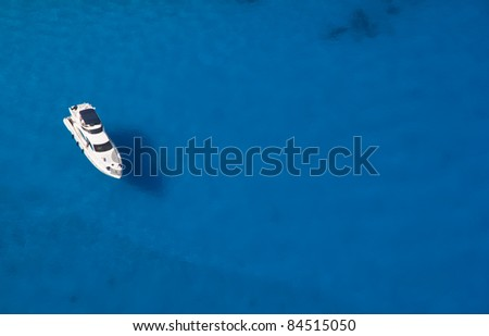 Top view of luxury yacht - stock photo