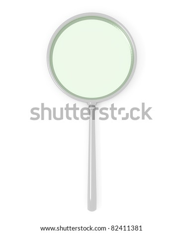 top view of magnifying glass isolated over white