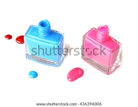 Top view of matte nail polish on white background (clipping path) - stock photo