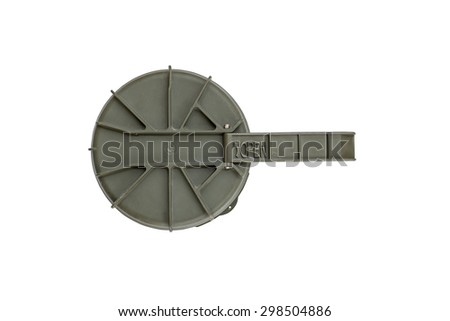 Top view of missile case cap on a white background - stock photo