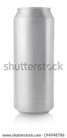 Top view of 500 ml aluminum beer can isolated on white - stock photo