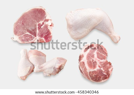 Top view of mockup raw chicken and pork chop set isolated on white background. Clipping Path included on white background. - stock photo