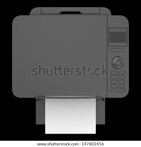 top view of modern black office multifunction printer isolated on black background - stock photo