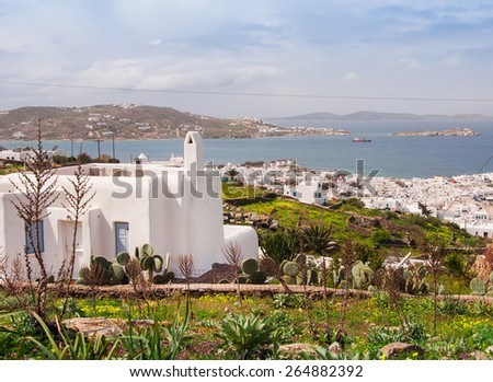 Top view of Mykonos town through the medows. Greece. - stock photo