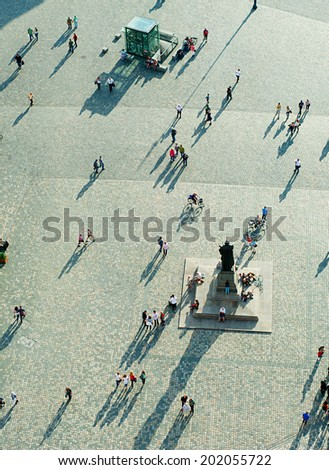Top view of  Neumarkt square in Dresden, Germany - stock photo