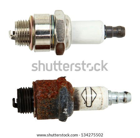 Top View Of New And Used Spark Plugs Isolated On White Background - stock photo