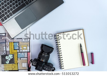 Interior Design Modern Working Table Laptop Stock Photo
