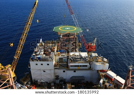 Top View of Offshore Drilling Rig Towards The Bow Leg - stock photo