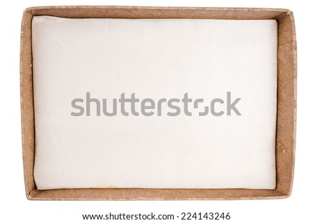 Top view of old carton box with fabric insert isolated on white background  - stock photo