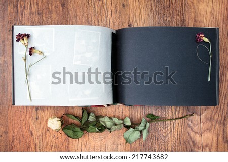 Top view of open photo album book with withered rose next to this - stock photo
