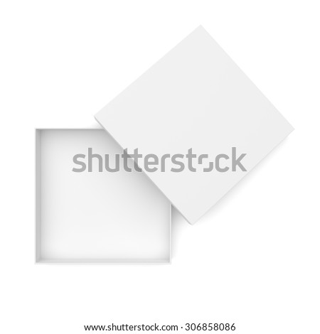 Top view of opened flat box isolated on white background - stock photo