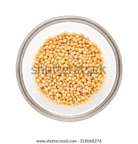 Top view of Organic yellow mustard (Brassica alba) half filled in glass bowl isolated on white background.