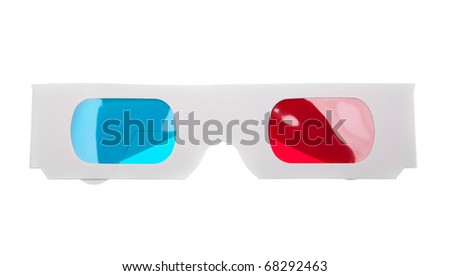 Top view of  paper 3D anaglyph glasses isolated in white background - stock photo