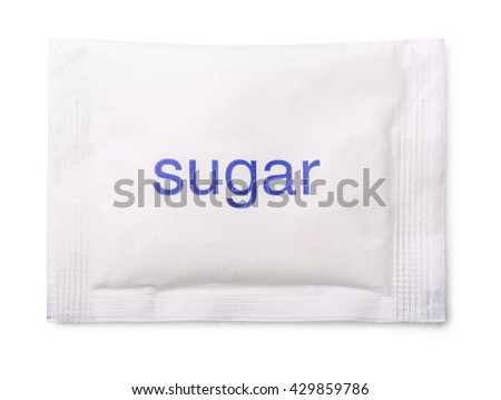 Top view of paper sugar bag isolated on white - stock photo