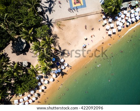 Top View of Paradise Beach - stock photo