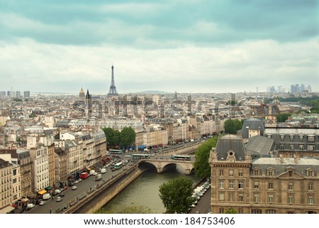 top view of Paris on a cloudy day, France - stock photo