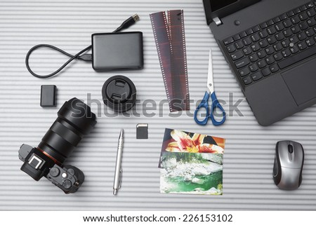 top view of photographer desk - stock photo