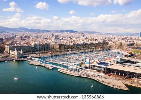 Top view of Port Vell with docked ships  in Barcelona . Catalonia, Spain - stock photo