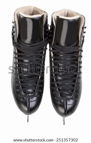 Top View of Professional Mens Figure Skates Isolated Over White Background.Vertical Image - stock photo