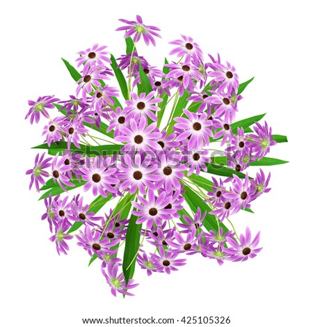 top view of purple flowers in vase isolated on white background. 3d illustration - stock photo