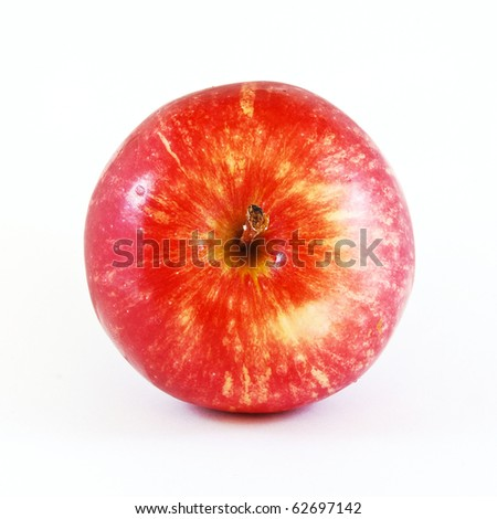 top view of red apple isolated on white background - stock photo
