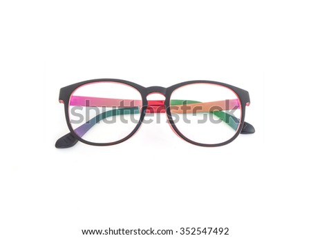 top view of red glasses over white background