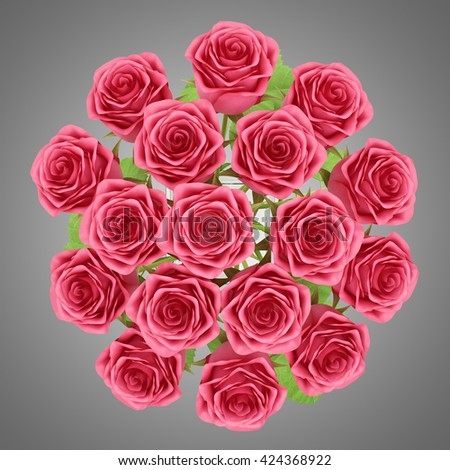top view of red roses in glass vase isolated on gray background. 3d illustration - stock photo