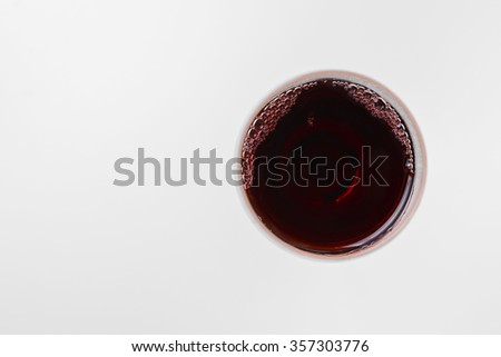 top view of red wine glass with clipping path