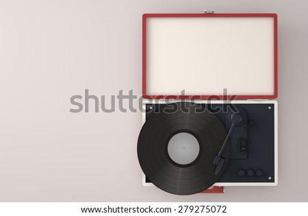 Top view of retro turntable with copy space - 3D Render - stock photo