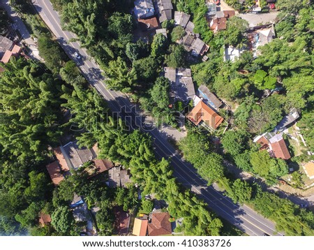 Top View of Road in a Rural Landscape - stock photo