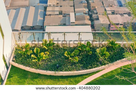 Top view of rooftop ornamental garden in urban setting - stock photo