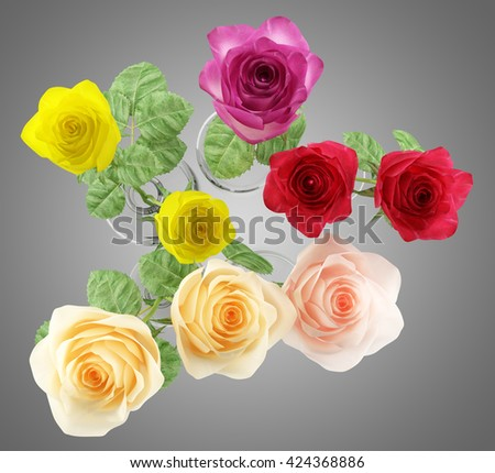 top view of roses in glass vases isolated on gray background. 3D illustration - stock photo